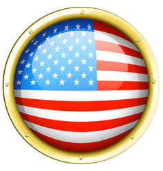Flag of america on round frame vector