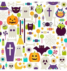 Flat Halloween Holiday Objects Seamless Pattern vector