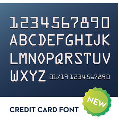 Font for credit cards vector
