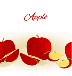 fruity border seamless background with red apple vector image