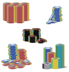 Gambling chip stacks vector
