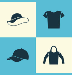 Garment icons set collection of sweatshirt vector