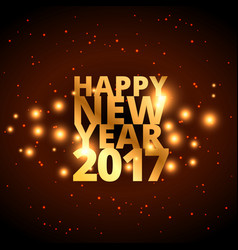golden happy new year wishes for 2017 with golden vector image