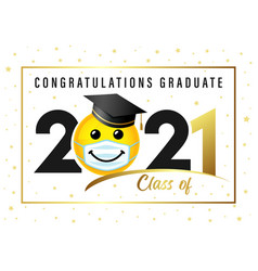 Graduating class 2020 smile in academic cap vector