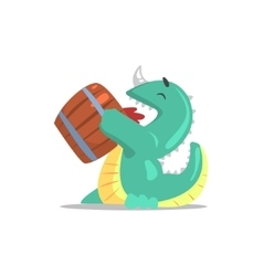 Green dragon-like monster drinking beer from vector