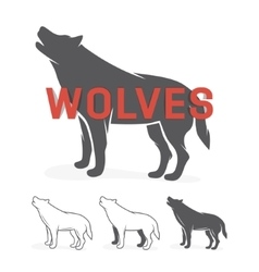 Grey wolf silhouette logo or label vector