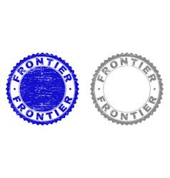 Grunge frontier textured stamps vector