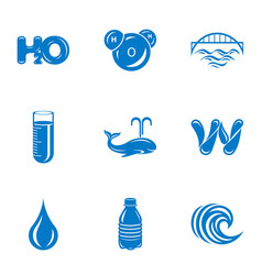 H2o icons set simple style vector