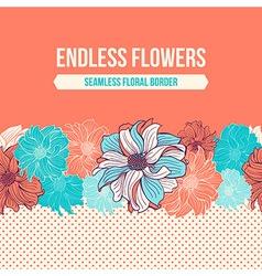 hand-drawn flowers dahlia seamless border vector image