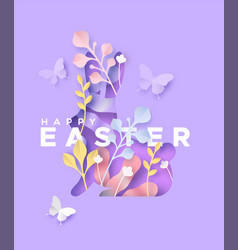 Happy easter 3d paper cut spring rabbit craft card vector