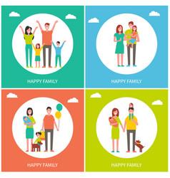 happy family childhood set vector image