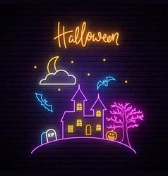 happy halloween neon signboard vector image