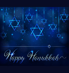 Happy hanukkah card template with blue star symbol vector