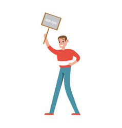 Happy sports fan standing and holding whiteboard vector