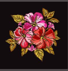 Hibiscus floral bouquet vector