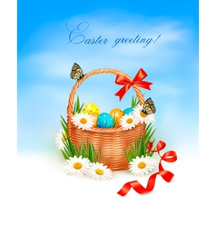 holiday background with easter backet and eggs vector image vector image