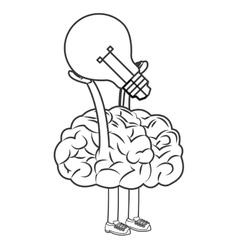 Human brain lifting lightbulb icon vector