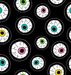 Human eyeball hand drawn stitch patch pattern vector