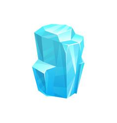 Ice crystal blue frozen floe salt block vector