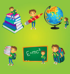 Kid boy schoolboy doing school activities vector