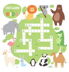 Kids magazine book puzzle game of forest animals vector