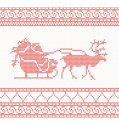 Knitted deer and santa vector