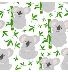 koala doodle seamless pattern background vector image