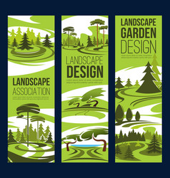Landscape design green tree and plant vector