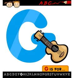 Letter g with guitar cartoon vector