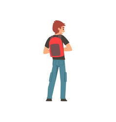 man standing with backpack back view vector image