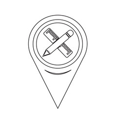 Map pointer pencil with ruler icon vector