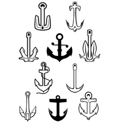 Marine themed set of ships anchors vector image