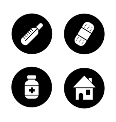 Medicine chest items black icons set vector