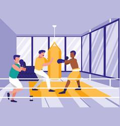Men practicing boxing in gym vector
