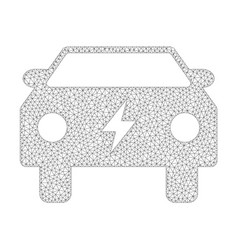 mesh electric power car icon vector image
