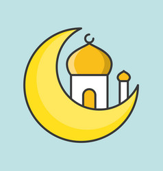 Mosque and moon ramadan filled outline icon vector