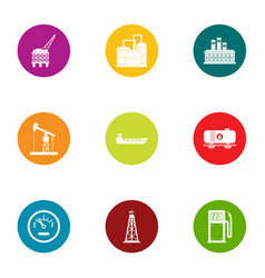 Oil area icons set flat style vector