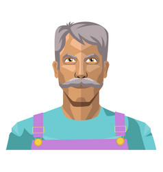 Older man with moustaches on white background vector