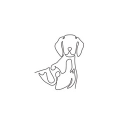 one continuous line drawing cute german vector image