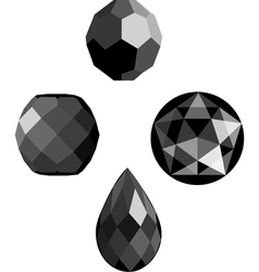 onyx and jet faceted beads vector image