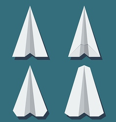 Origami airplane set in flat style vector