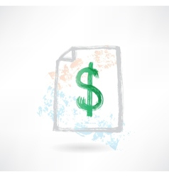 Paper dollar grunge icon vector