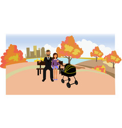 Park with a family vector