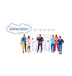 People group having break standing near coffee vector