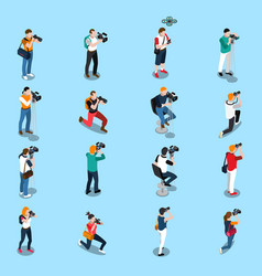 Photographers and cameramen isometric set vector