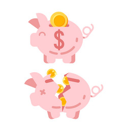 Piggy bank with golden vector
