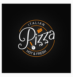 Pizza logo badge design background vector