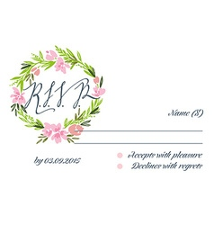 Rsvp card suite with frame wedding invitation card vector