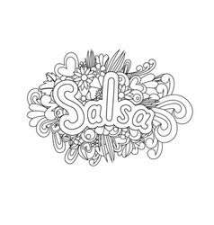 Salsa zen tangle doodle flowers and text for vector