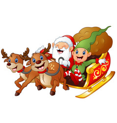 santa and elf cartoon a riding in sled sleigh and vector image